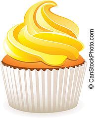 vektor, gul, cupcake