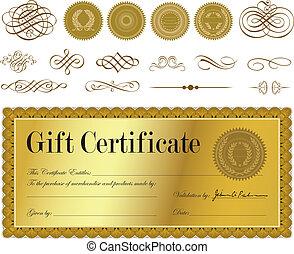 vektor, guld, certifikat