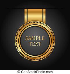 vektor, guld, etikett, på, svart