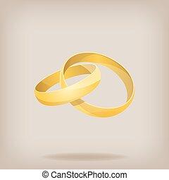 vektor, guld, illustration, rings., bröllop, par