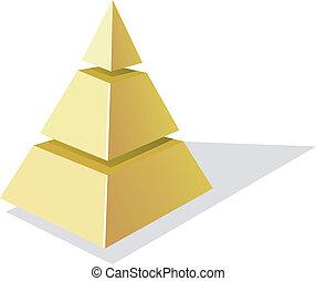 vektor, guldgul fond, pyramid, vit, illustration
