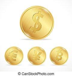 vektor, guldmynt, bitcoin, euro dollar, yena