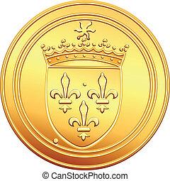 vektor, guldmynt, fransk, ecu, obverse