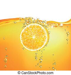 vektor, gyümölcs, esés, folyékony, narancs