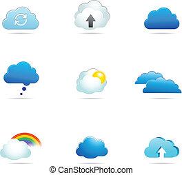 vektor, gyűjtés, felhő, ikonok