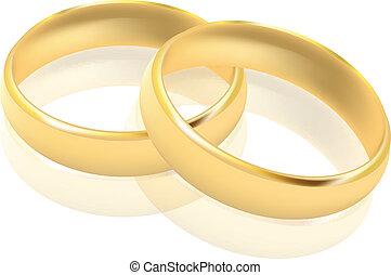 vektor, gyűrű, ábra, arany