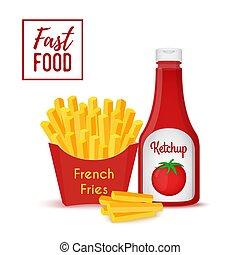 vektor, gyorsan elkészíthető étel, gyűjtés, -, daróc, és, ketchup