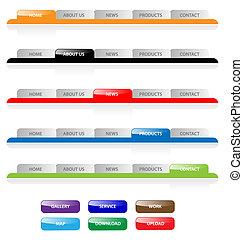 vektor, háló, buttons., tabs, víz, házhely, szerkeszt, állhatatos, könnyen, size., 2.0, navigáció, bármilyen