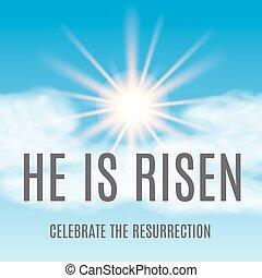 vektor, háttér., húsvét, ábra, risen., ő