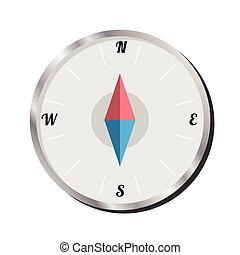 vektor, háttér, iránytű, elszigetelt, fehér, ábra