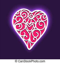 vektor, háttér, képben látható, valentin nap, noha, szív