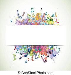 vektor, háttér, noha, zene híres