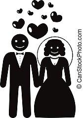 vektor, házasság, részvény, pictogram