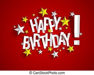 vektor, hälsning, illustration, födelsedag, bakgrund, kort, lycklig