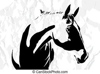 vektor, häst