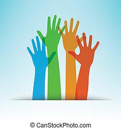 vektor, hænder, farverig, illustration