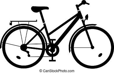 vektor, hölgy, bicikli, fekete, árnykép