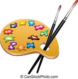 vektor, hölzern, kunst, palette, mit, flecke, von, farbe, und, bürsten