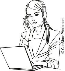 vektor, hörlurar, illustration, sekreterare