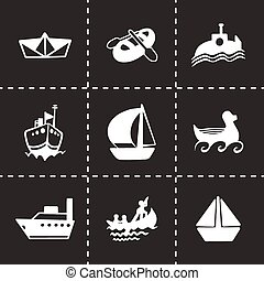 vektor, hajó, állhatatos, csónakázik, ikon