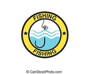 vektor, hake, ikon, logo, fiske, illustration