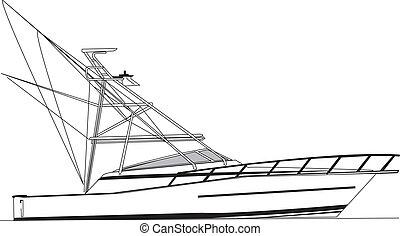vektor, halászhajó, part felől