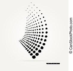 vektor, halftone, dots.