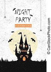 vektor, halloween, illustration., banner.