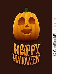 vektor, halloween, illustration, lycklig