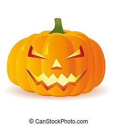 vektor, halloween, isolerat, bakgrund, vit, pumpa
