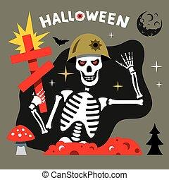 vektor, halloween, skelett, karikatur, illustration.
