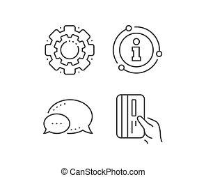 vektor, halten, zahlung, karte, card., icon., linie, kredit