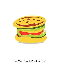 vektor, hamburger, karikatur, illustration.