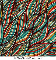 vektor, hand-drawn, bølger, tekstur, bølgede, baggrund.,...
