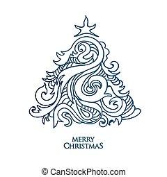 Weihnachtsbaum Gezeichnet.Gezeichnet Baum Weihnachten Hand Stil Färbung Card