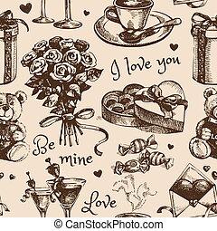 vektor, hand, skiss, oavgjord, dag, illustration, valentinkort