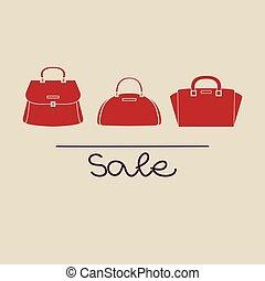 vektor, handväska, mode, röd, illustration