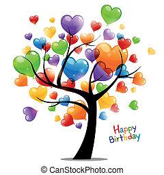 vektor, happy birthday, pohled