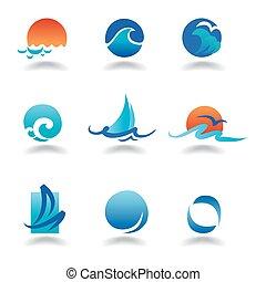 vektor, hav, vågor
