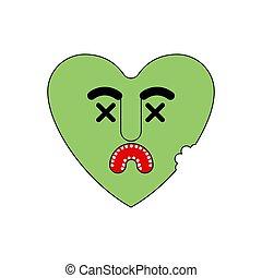 vektor, heart., död, kärleksaffär, kärlek, zombie, grön, illustration