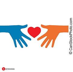 vektor, heart., illustration., hånd ind hånd