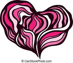 vektor, heart., illustration.