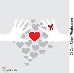 vektor, hearts., illustration., halten hände