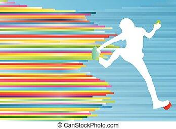 vektor, hegy, nő, színes, elvont, megvonalaz, fogalom, háttér, mászó