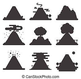vektor, hegy, vulkanikus, árnykép, illustration., természet,...