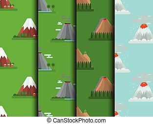 vektor, hegy, vulkanikus, természetes, dohányzik, természet...