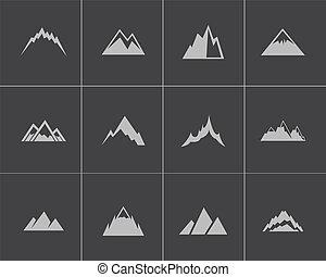 vektor, hegyek, állhatatos, fekete, ikonok