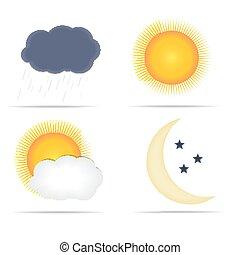 vektor, heiligenbilder, abbildung, mond, wetter, regen, sonne, wolke