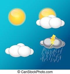 vektor, heiligenbilder, abbildung, wetter, regen, sonne, wolke