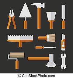 vektor, hem, sätta, repair., redskapen